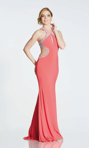 Nancy* Salmon Tiffanys Evening Prom Dress Cut Away Sides - Fab Frocks