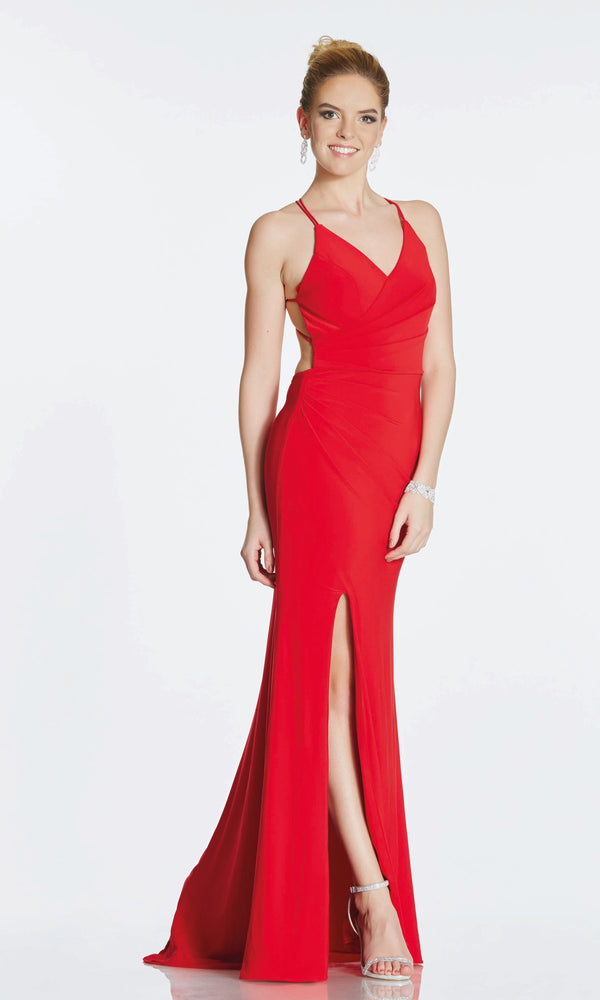 Tara Red Tiffanys Illusion Jersey Low Tie Back Dress - Fab Frocks