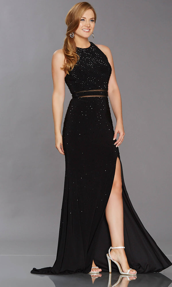 Rita Black Tiffanys Beaded Dress With Sheer Waistband - Fab Frocks