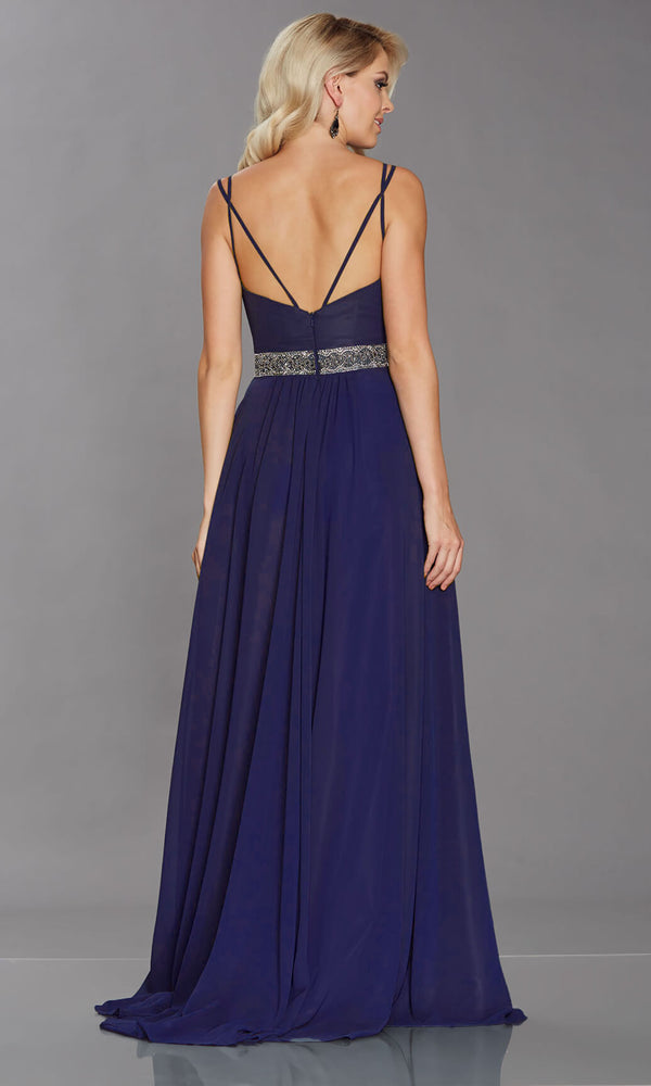 Laurelle Navy Tiffanys Chiffon Floaty Evening Prom Dress