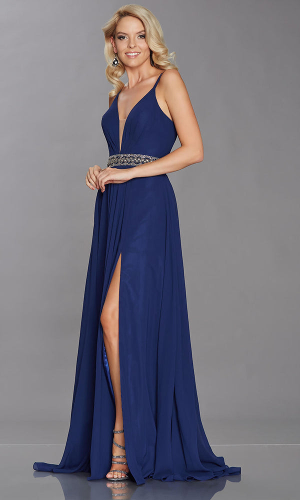 Laurelle Navy Tiffanys Chiffon Floaty Evening Prom Dress - Fab Frocks