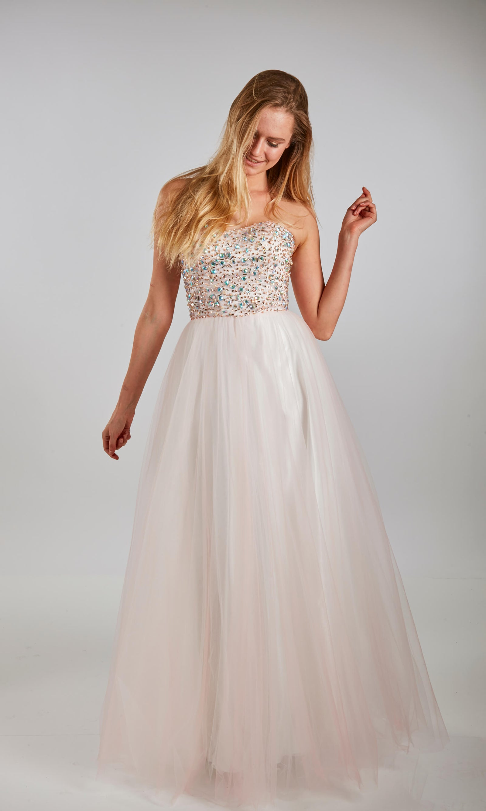 Ursula Stone/Pink Crystal Breeze Lace-Up Back Ballgown - Fab Frocks