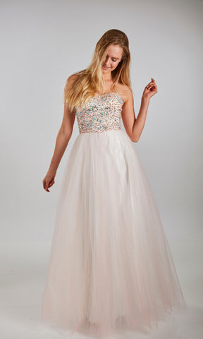 Ursula Stone/Pink Crystal Breeze Lace-Up Back Ballgown