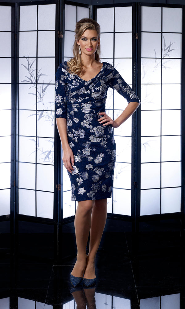 VO4991 Navy Veromia Occasions Dress With Sleeves - Fab Frocks