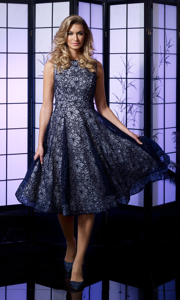 VO4996 Navy Ivory Veromia Occasions A-Line Dress - Fab Frocks