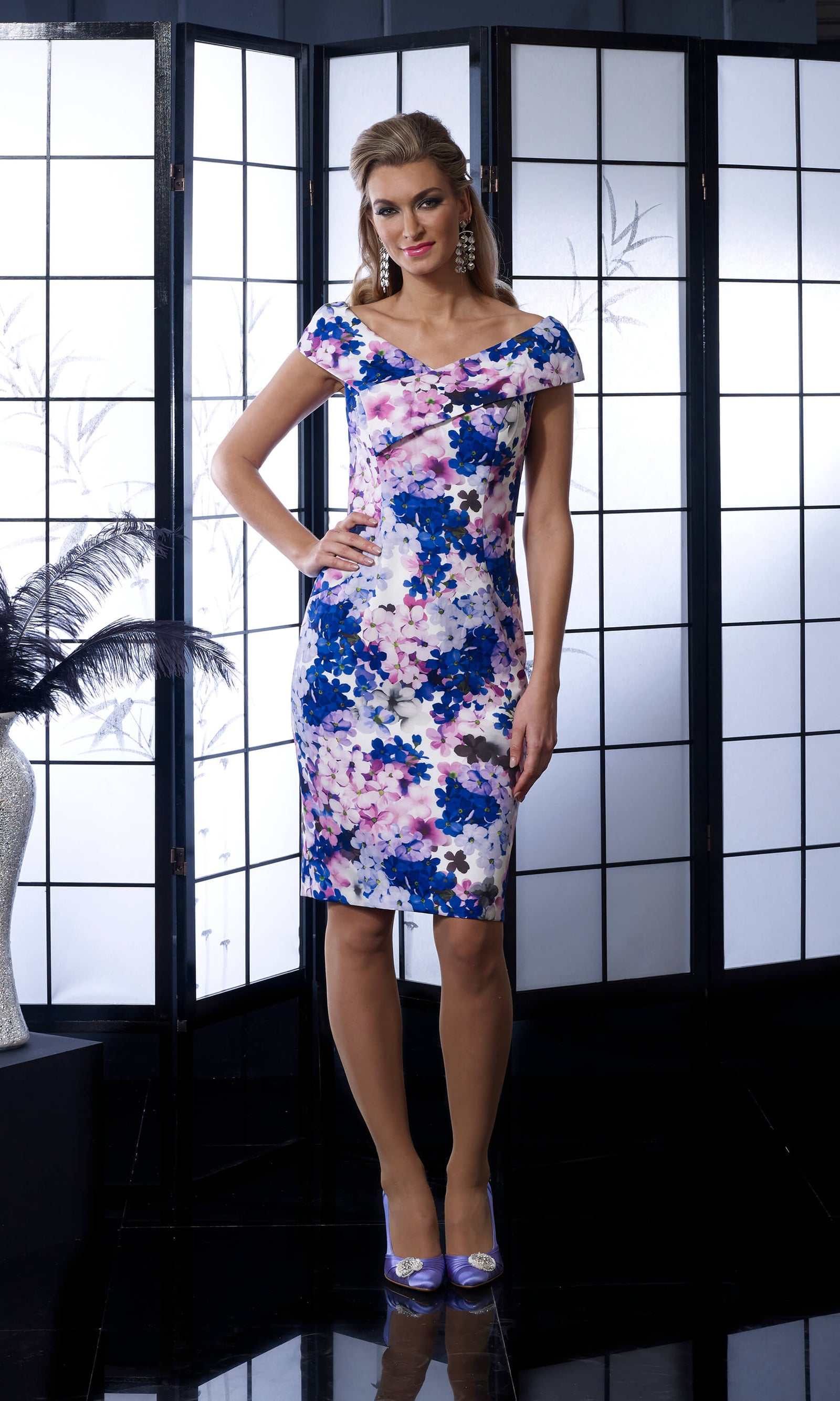 VO5008 Violet Veromia Occasions Print Pencil Dress