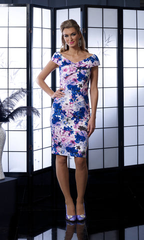 VO5008 Violet Veromia Occasions Print Pencil Dress - Fab Frocks