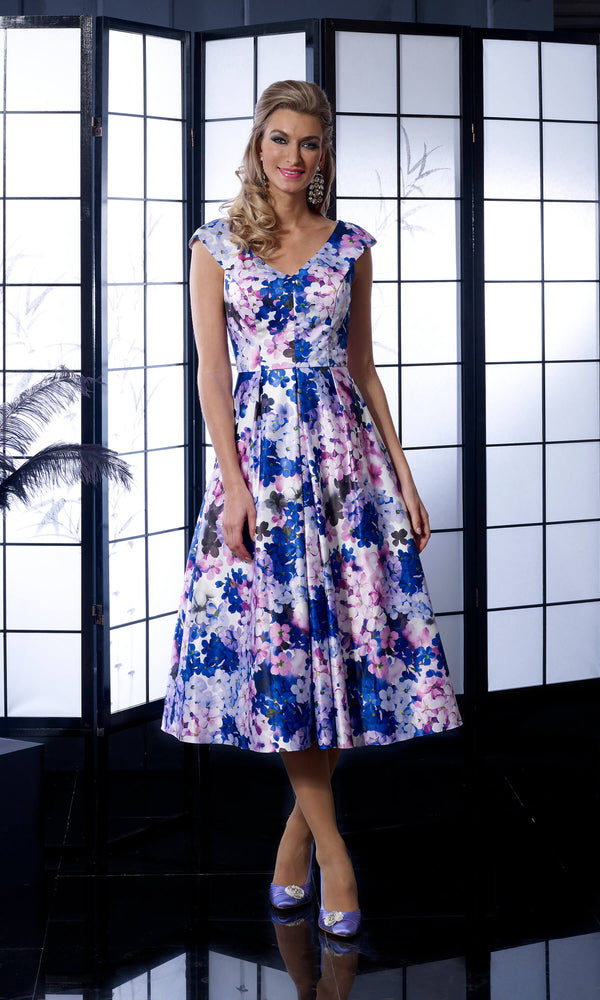 VO5009 Violet Veromia Occasions Print A-Line Dress - Fab Frocks