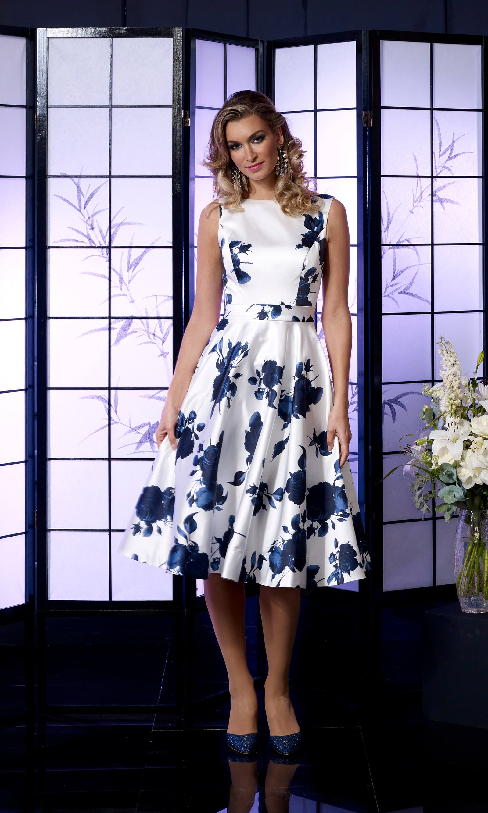 VO5349 Navy Ivory Veromia Occasions Fifties Style Dress