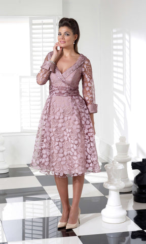 VO3728 Rose Pink Veromia Occasions A-Line Dress Bow Back
