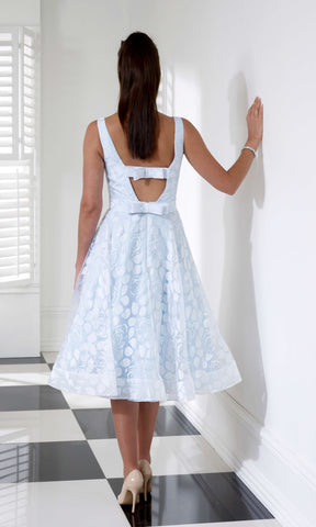 VO3729 Pale Blue Veromia Occasions A-Line Dress Bow Back