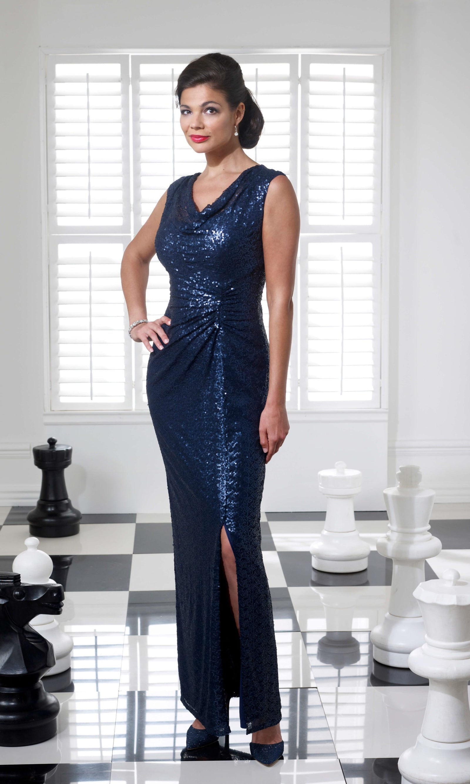 VO3743 Navy Veromia Occasions Sequin Long Evening Dress - Fab Frocks