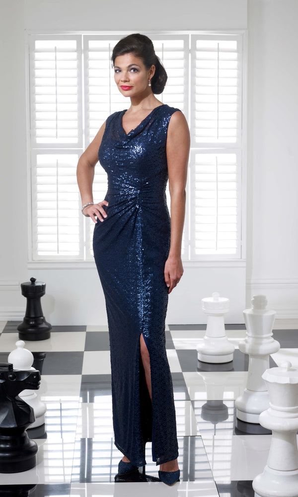 VO3743 Navy Veromia Occasions Sequin Long Evening Dress