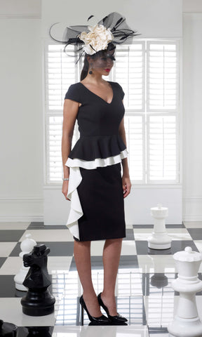 VO68G Black Ivory Veromia Occasions Peplum Dress - Fab Frocks