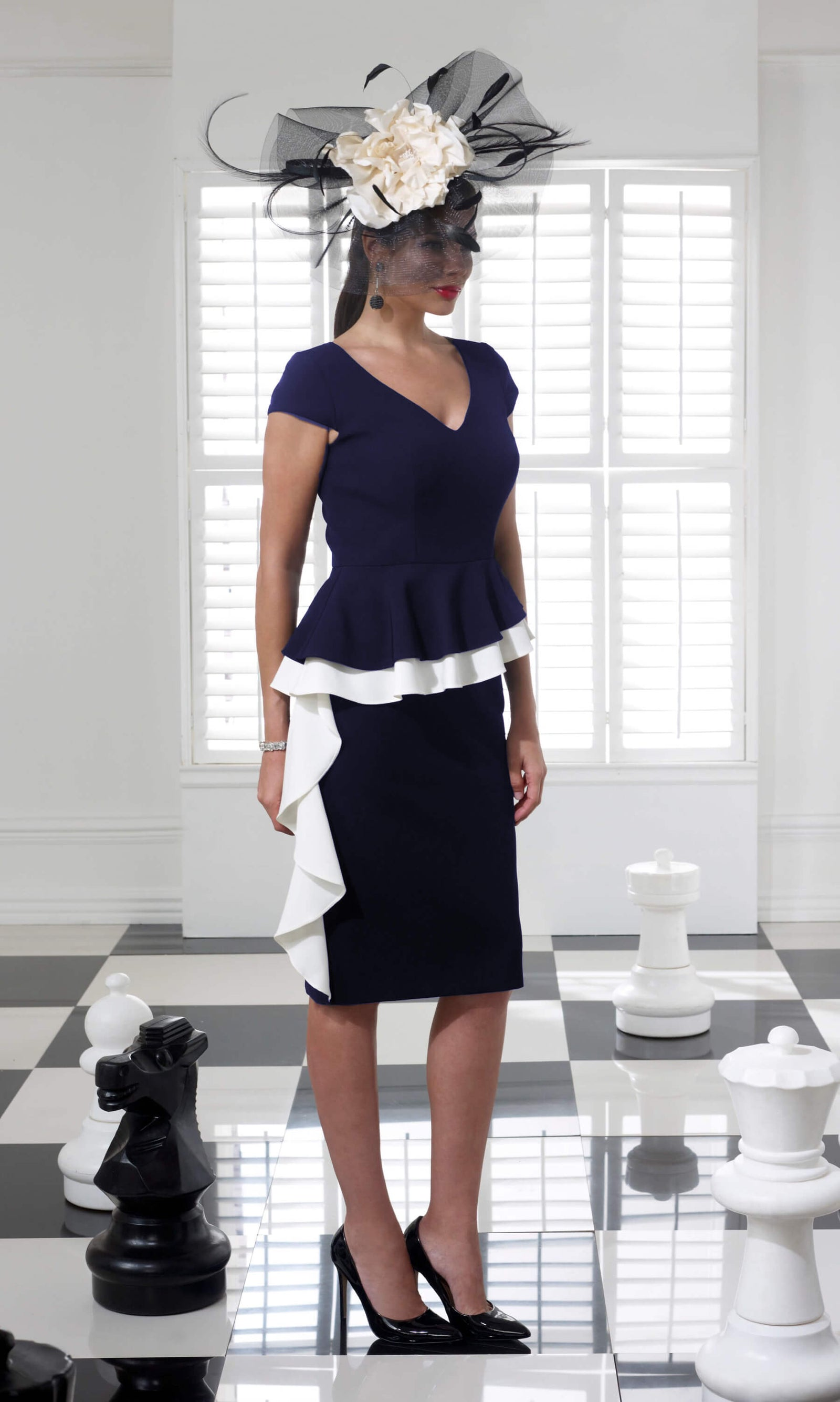 VO68G Navy Ivory Veromia Occasions Peplum Dress - Fab Frocks