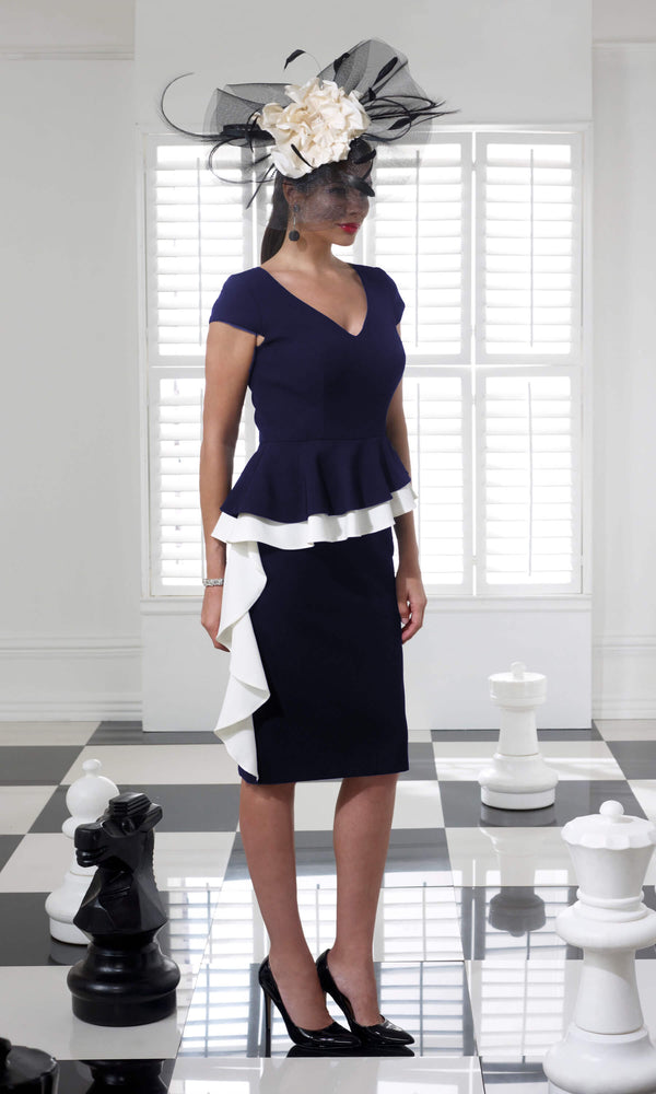 VO68G Navy Ivory Veromia Occasions Peplum Dress