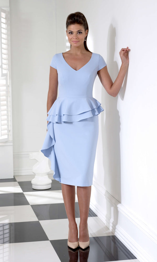 VO68G Sky Blue Veromia Occasions Peplum Dress - Fab Frocks
