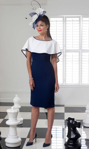 VO69G Navy White Veromia Occasions Dress With Cape - Fab Frocks