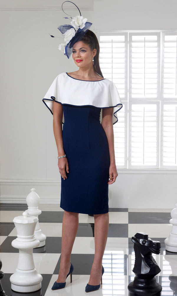 VO69G Navy White Veromia Occasions Dress With Cape