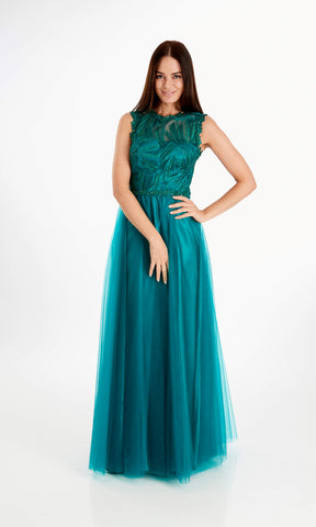 Violet Green Crystal Breeze Ballgown Evening Prom Dress - Fab Frocks