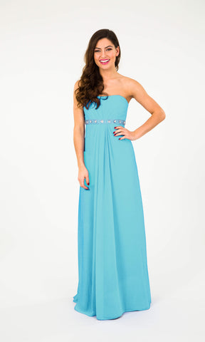 Wendy Turquoise Crystal Breeze Strapless Evening Dress - Fab Frocks