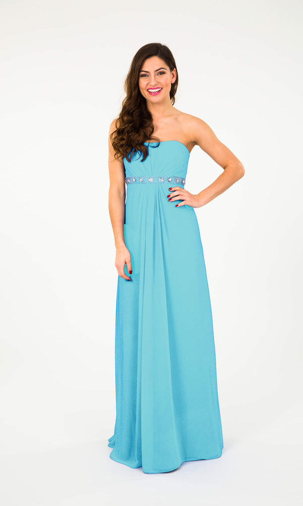 Wendy Turquoise Crystal Breeze Strapless Evening Dress