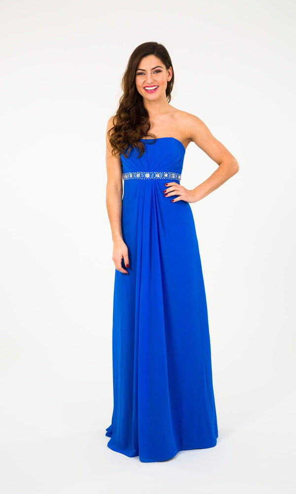 Wendy Blue Crystal Breeze Floaty Strapless Chiffon Dress - Fab Frocks