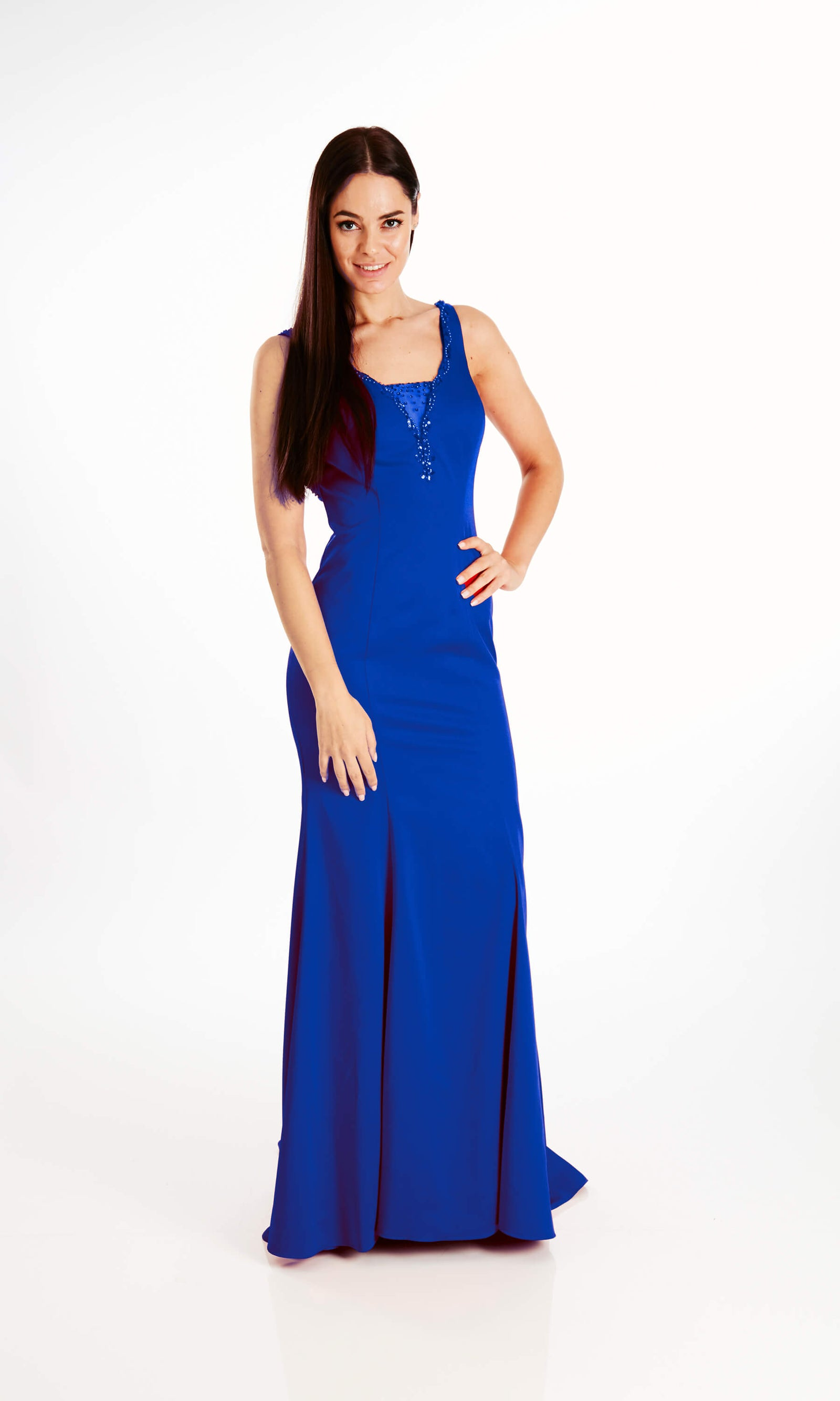 Willow Blue Crystal Breeze Plunge Neckline Evening Dress