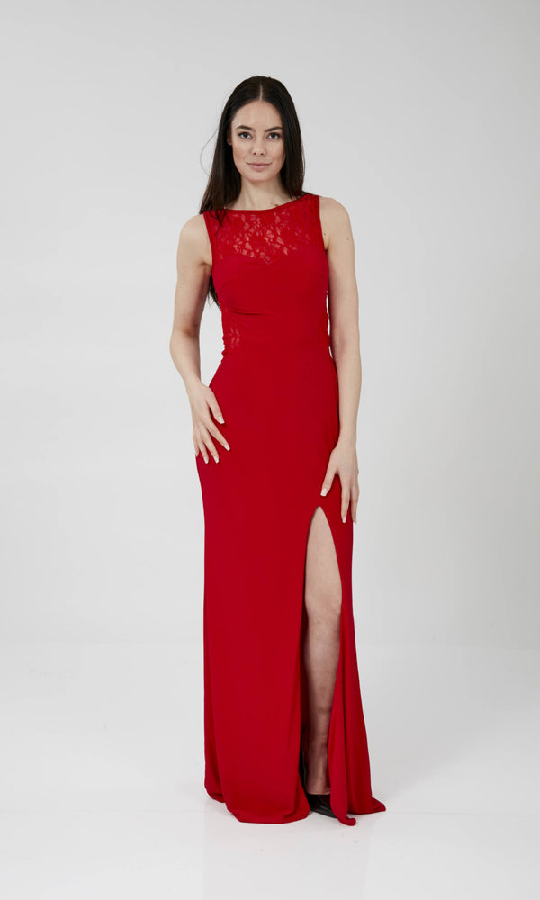 Anna Cherry Crystal Breeze High Neck Evening Prom Dress - Fab Frocks