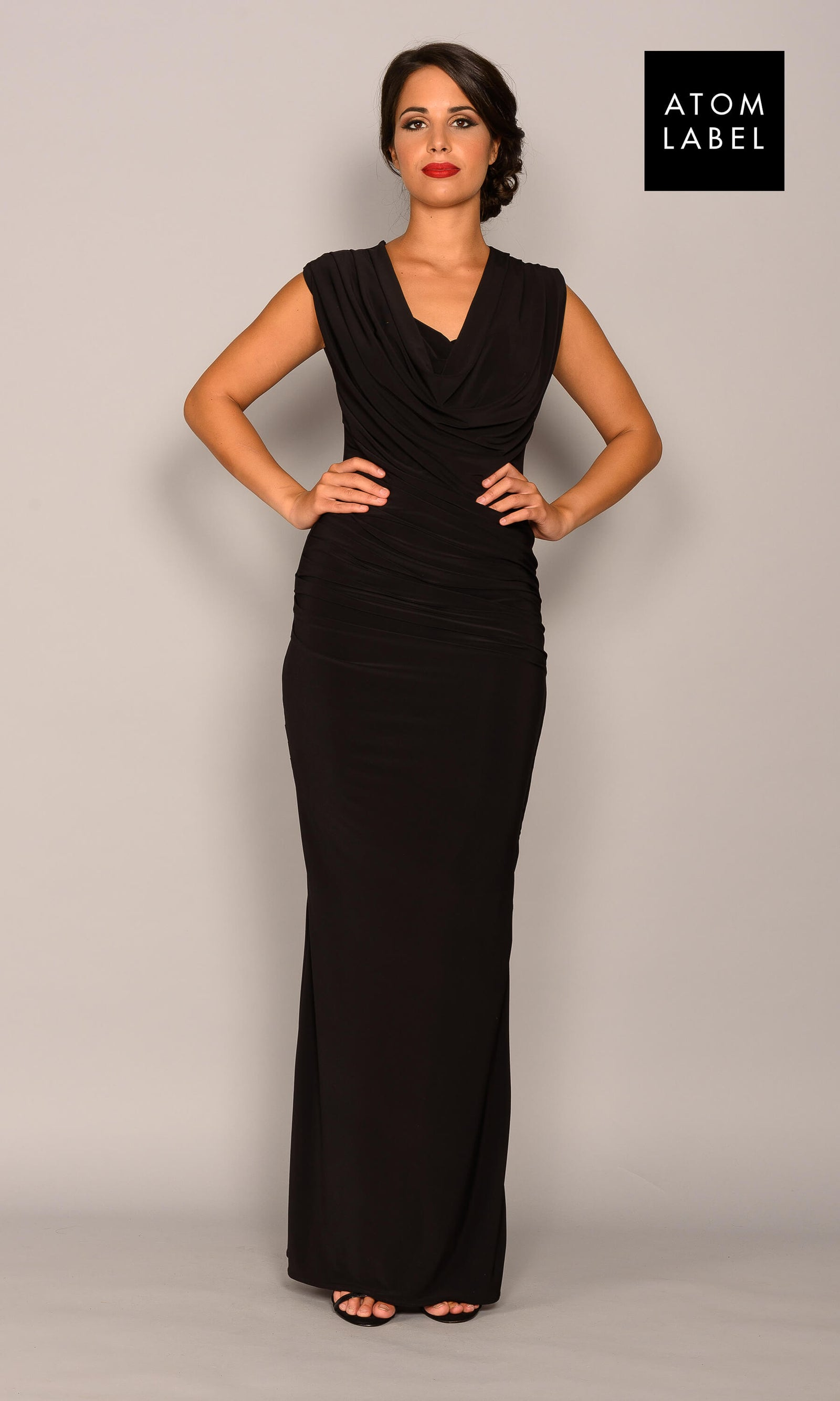 Aluminium Black Atom Label Jersey Evening Dress - Fab Frocks