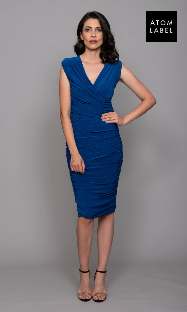 Argon Cobalt Atom Label Cocktail Dress