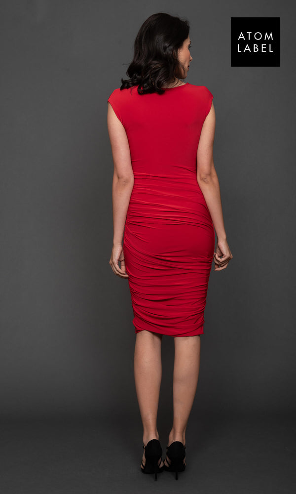 Argon Red Atom Label Jersey Cocktail Dress