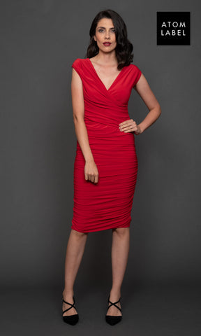 Argon Red Atom Label Jersey Cocktail Dress - Fab Frocks
