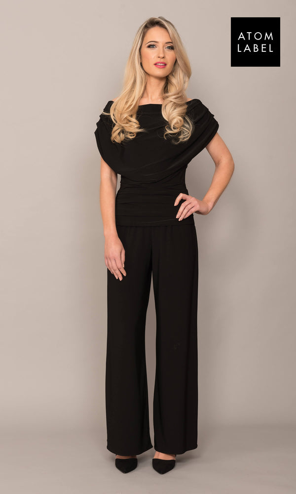 Carbon Black Atom Label Jersey Jumpsuit - Fab Frocks