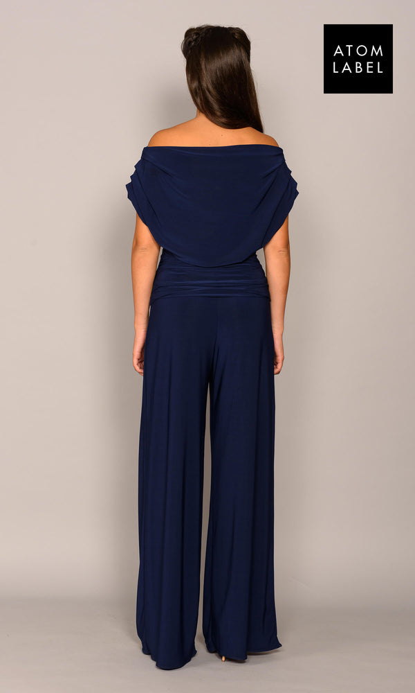 Carbon Navy Atom Label Jersey Jumpsuit - Fab Frocks