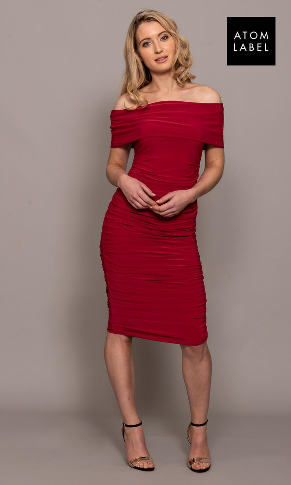 Copper Magenta Atom Label Jersey Dress - Fab Frocks