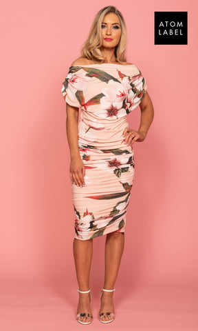 Oxygen Blush Floral Atom Label Jersey Dress