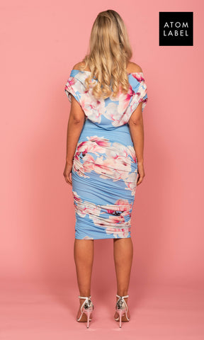 Oxygen Sky Blue Floral Atom Label Dress