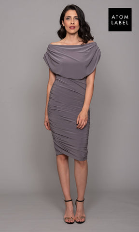 Oxygen Taupe Atom Label Jersey Dress - Fab Frocks