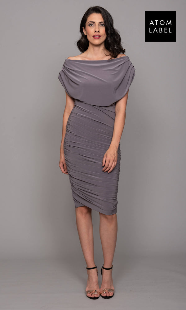 Oxygen Taupe Atom Label Jersey Dress