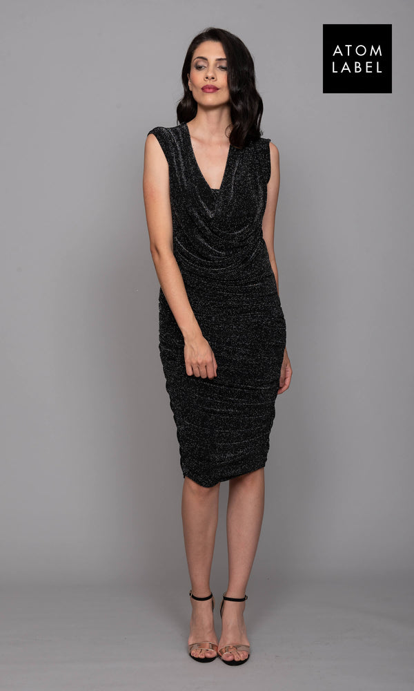 Radon Black Sparkle Atom Label Cocktail Dress