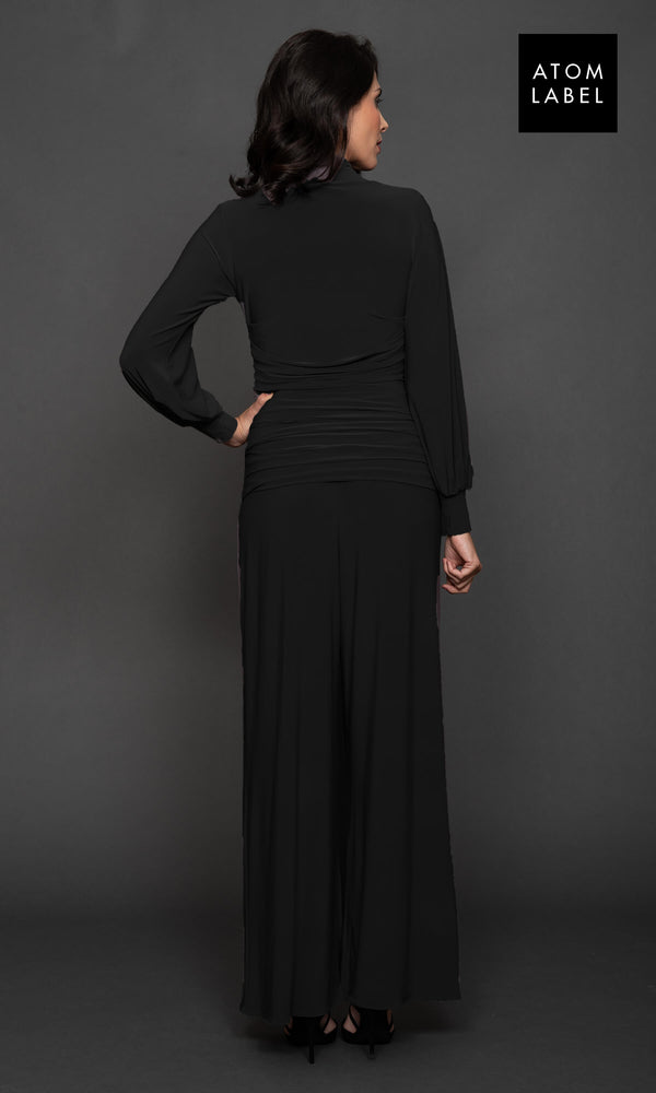 Uranium Black Atom Label Jersey Jumpsuit With Sleeves - Fab Frocks