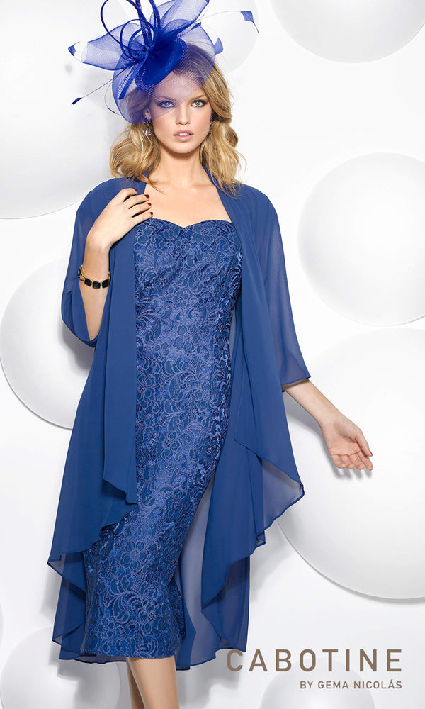 5006216 Azulon Cabotine Lace Dress & Chiffon Jacket - Fab Frocks