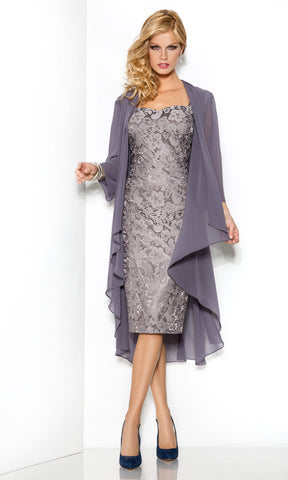 5006216 Smoke Grey Cabotine Lace Dress & Floaty Jacket