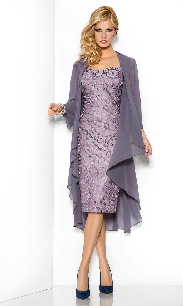 5006216 Purpura Cabotine Lace Dress & Floaty Frock Coat