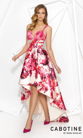 5007963 Fuchsia Cabotine High Low Floral Print Evening Dress