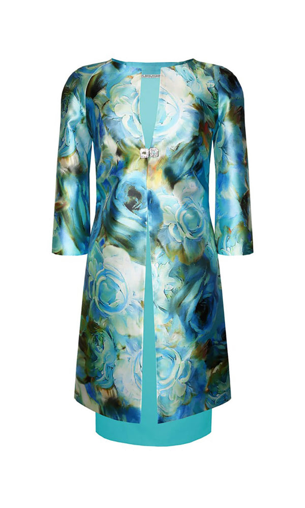 94756 Turquoise Carla Ruiz Dress & Print Frock Coat - Fab Frocks