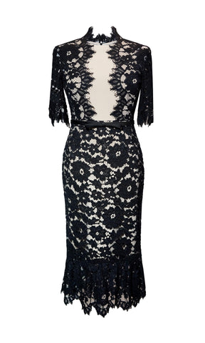 95047 Black Rosa Carla Ruiz Lace Special Occasion Dress