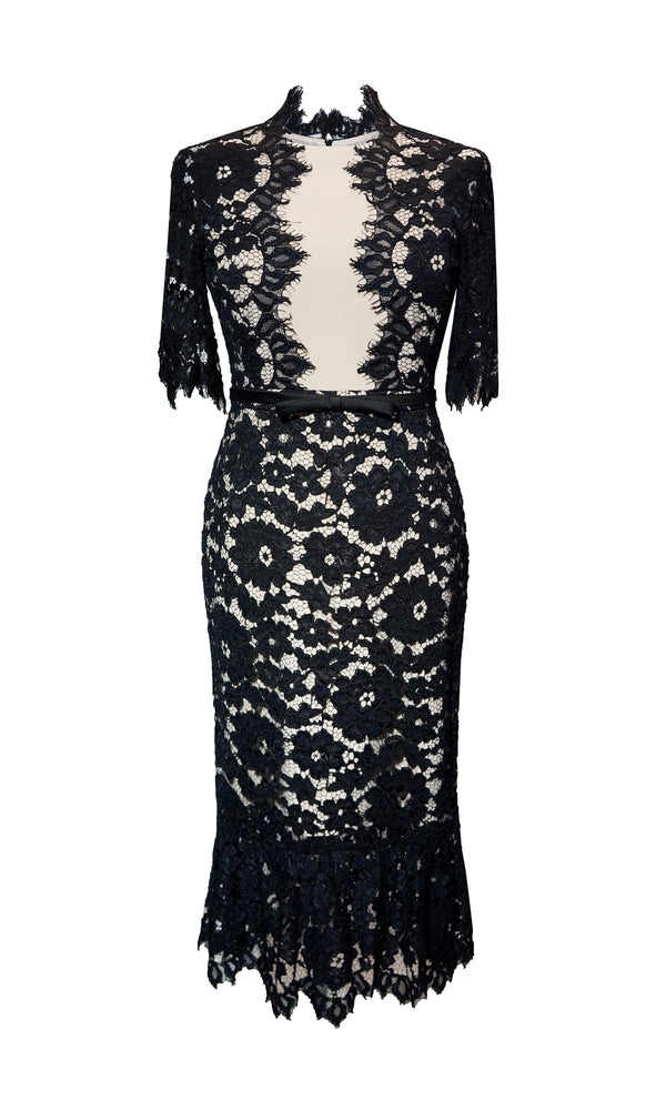95047 Black Rosa Carla Ruiz Lace Special Occasion Dress - Fab Frocks