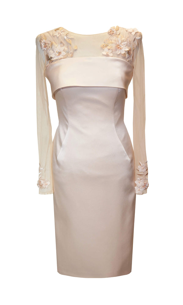95072 Pink Carla Ruiz Special Occasion Dress With Sleeves